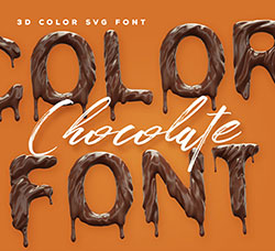 逼真的巧克力英文SVG字体:Chocolate Color Font